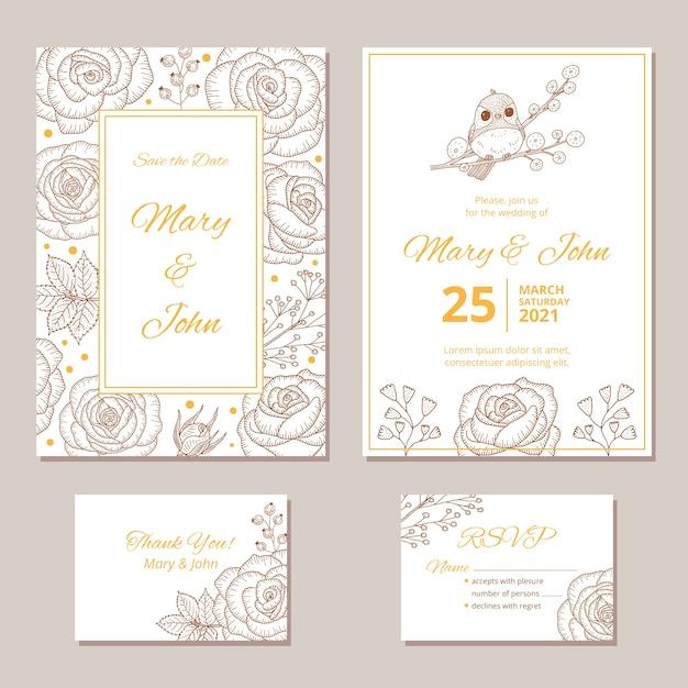Modelo de convite de casamento de papelaria Vetor grátis