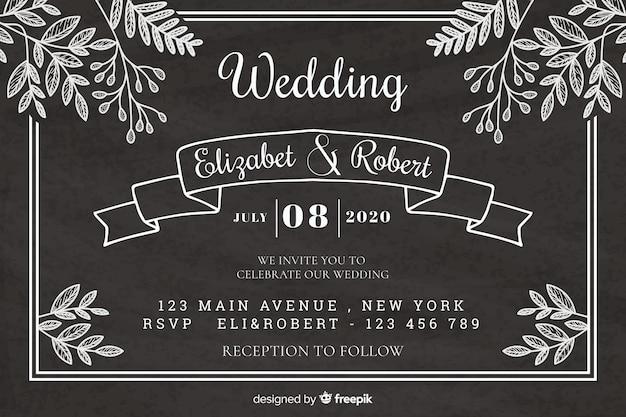 Modelo de convite de casamento do vintage no quadro-negro Vetor grátis