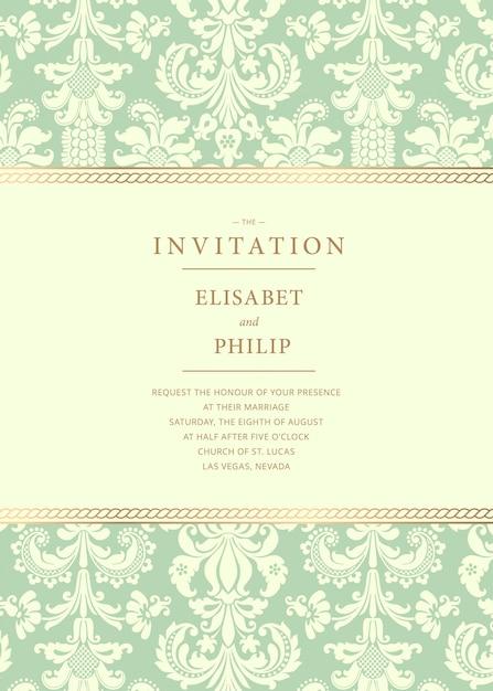 Modelo de convite de casamento do vintage Vetor Premium