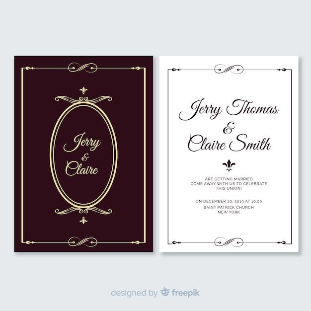 Modelo de convite de casamento do vintage Vetor grátis