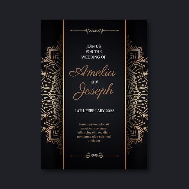 Modelo de convite de casamento dourado Vetor grátis