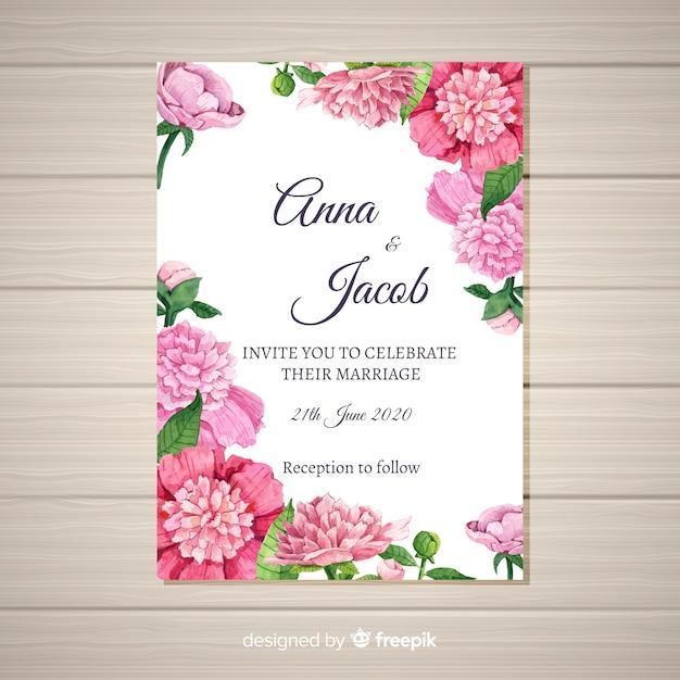 Modelo de convite de casamento elegante com conceito de flores de peônia Vetor grátis