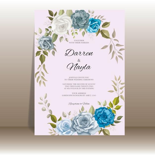 Modelo de convite de casamento elegante com decoração floral Vetor Premium