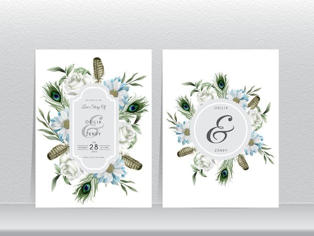 Modelo de convite de casamento elegante com pena de pavão e aquarela floral Vetor Premium