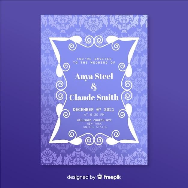 Modelo de convite de casamento elegante damasco Vetor grátis
