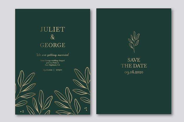 Modelo de convite de casamento elegante em tons de verde Vetor Premium