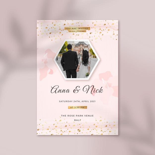 Modelo de convite de casamento elegante Vetor grátis
