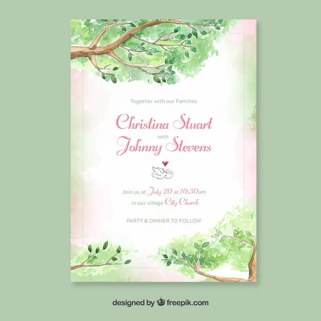 Modelo de convite de casamento em aquarela com estilo floral Vetor grátis