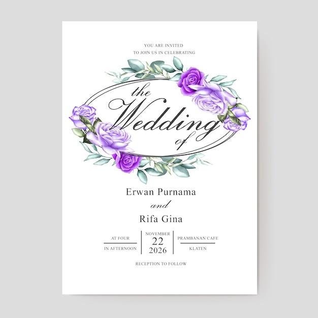 Modelo de convite de casamento em aquarela Vetor Premium