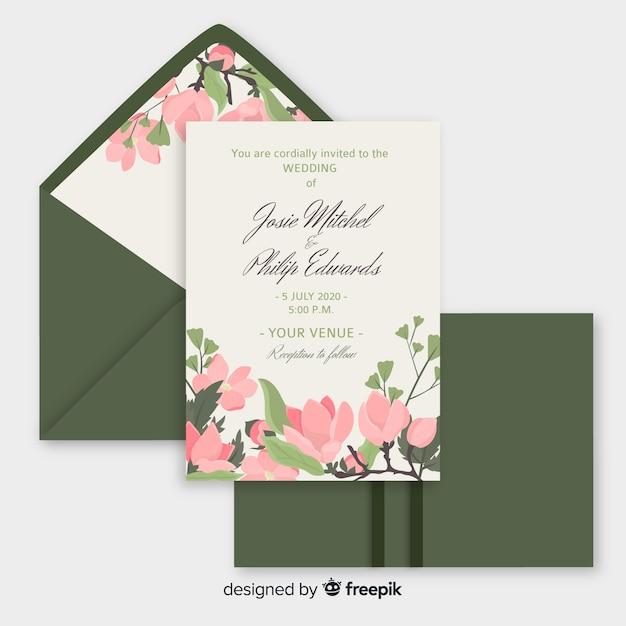 Modelo de convite de casamento em design plano Vetor grátis