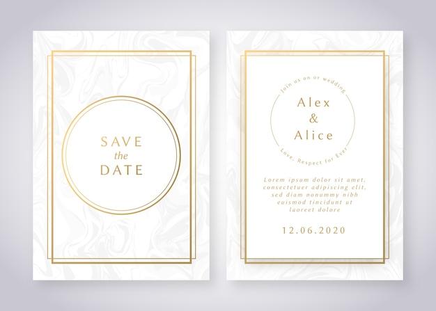 Modelo de convite de casamento em mármore elegante com detalhes dourados Vetor grátis