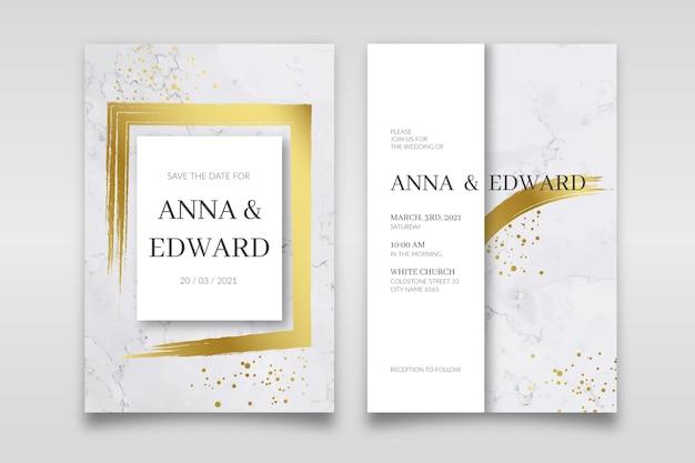 Modelo de convite de casamento em mármore elegante com detalhes dourados Vetor Premium
