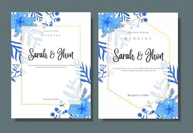 modelo de convite de casamento flor azul vintage
