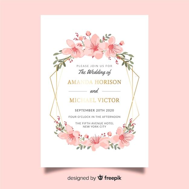 Modelo de convite de casamento floral colorido Vetor grátis