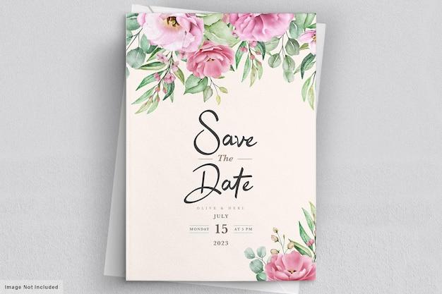 Modelo de convite de casamento floral com flores e folhas rosas Vetor grátis