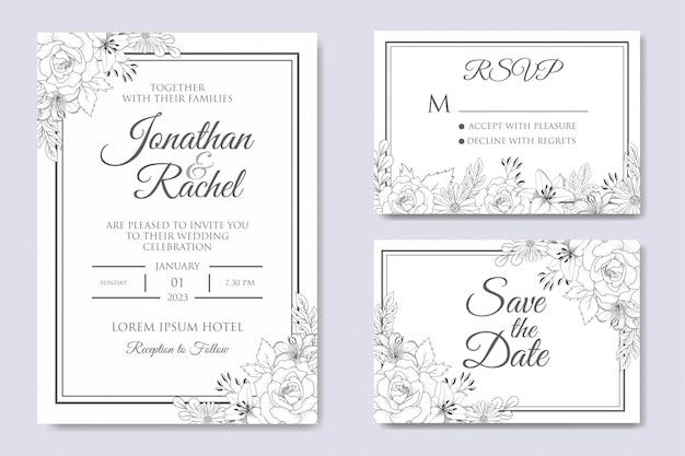 Modelo de convite de casamento floral desenhado à mão Vetor Premium