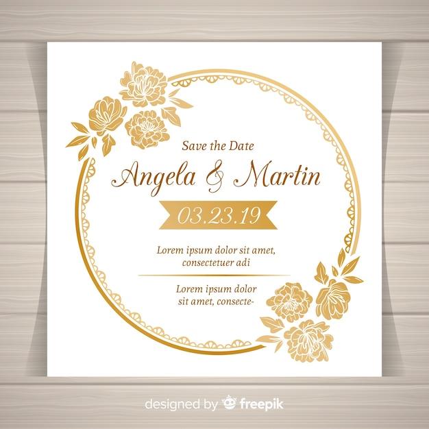 Modelo de convite de casamento floral elegante com moldura dourada Vetor grátis