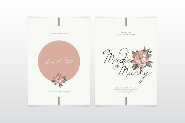 Modelo de convite de casamento floral elegante Vetor grátis