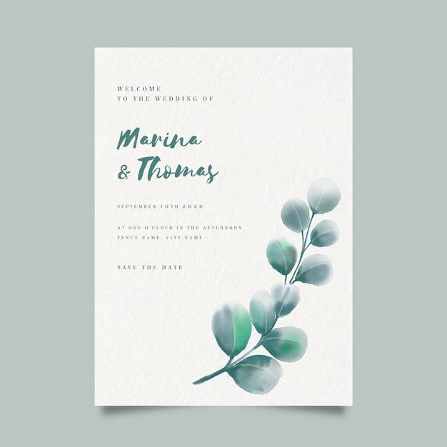 Modelo de convite de casamento floral em aquarela Vetor grátis