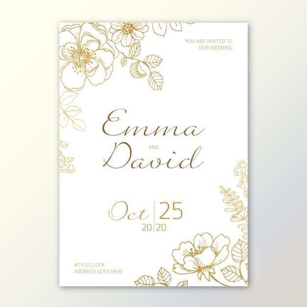 Modelo de convite de casamento floral minimalista elegante Vetor Premium