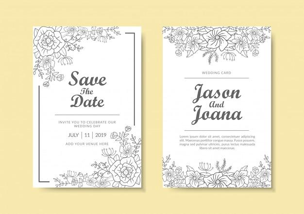 Modelo de convite de casamento floral. Vetor Premium