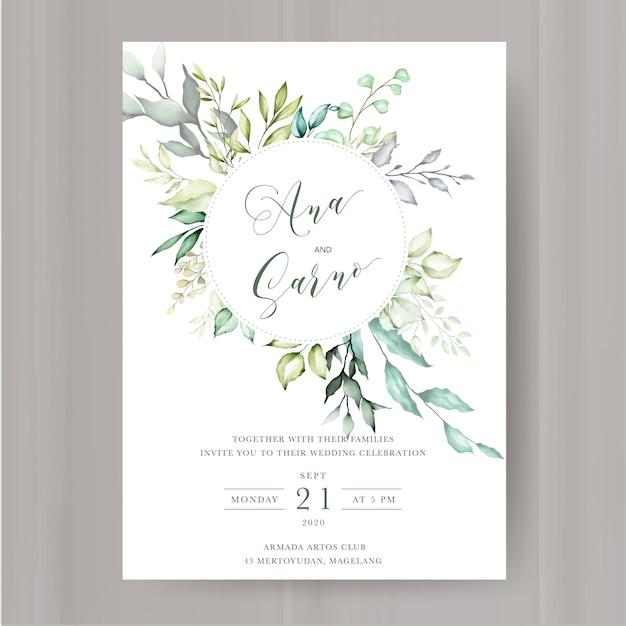 Modelo de convite de casamento floral Vetor Premium