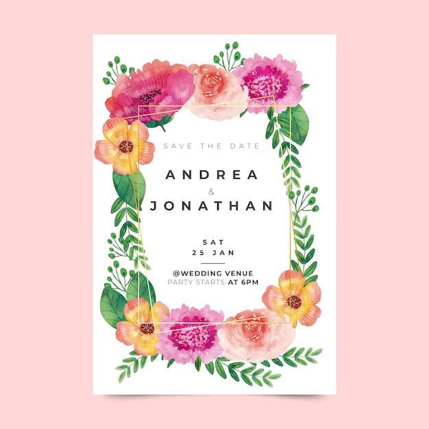 Modelo de convite de casamento floral Vetor grátis