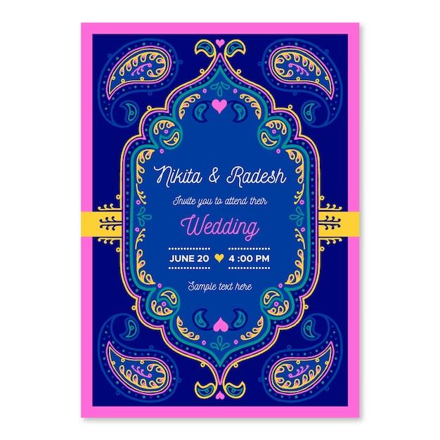 Modelo de convite de casamento indiano Vetor Premium