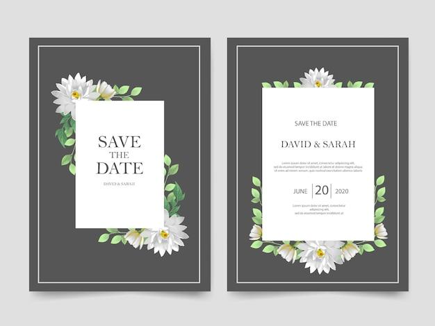 Modelo de convite de casamento linda flor branca Vetor Premium