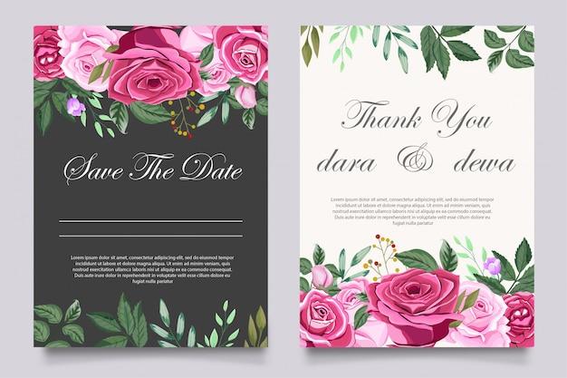 Modelo de convite de casamento lindo com flores Vetor Premium