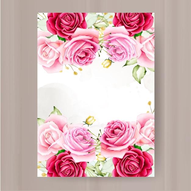 Modelo de convite de casamento moldura floral Vetor Premium