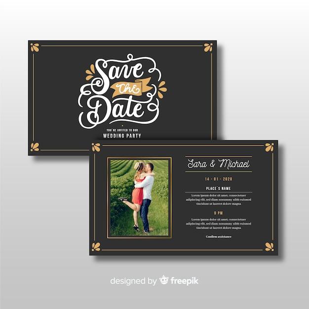 Modelo de convite de casamento ornamental com foto Vetor grátis