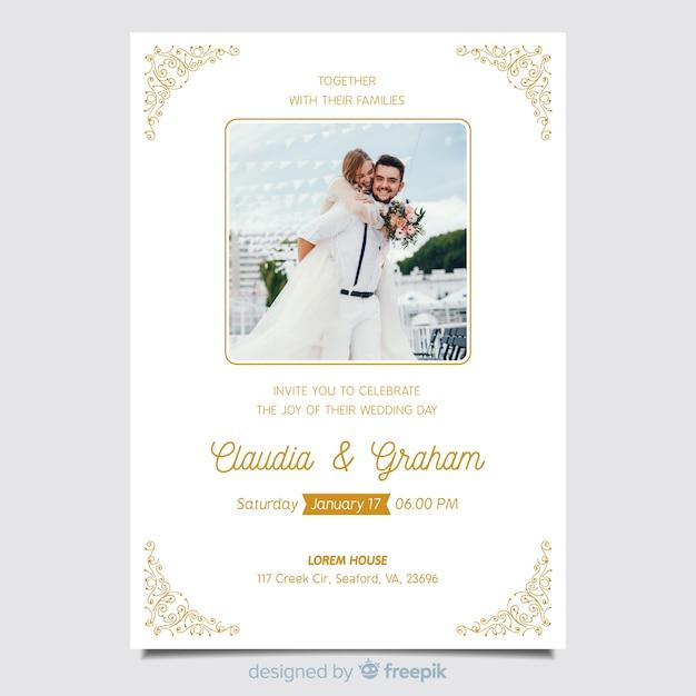 Modelo de convite de casamento ornamental lindo com foto Vetor grátis