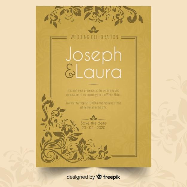 Modelo de convite de casamento ornamental retrô Vetor grátis