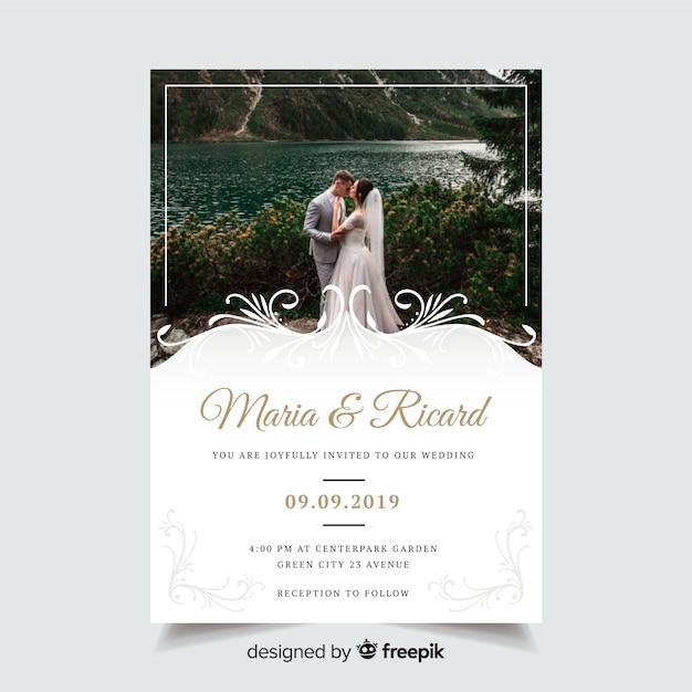 Modelo de convite de casamento ornamental Vetor grátis