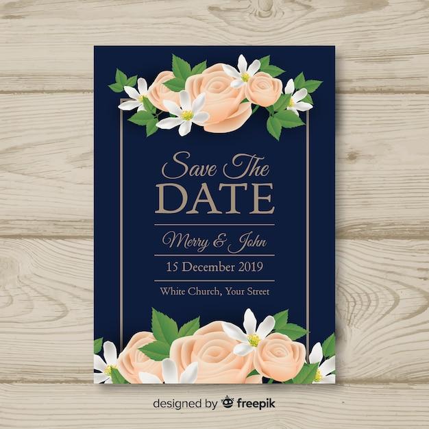 Modelo de convite de casamento realista Vetor grátis