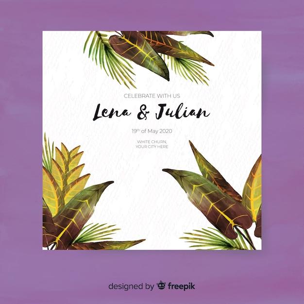 Modelo de convite de casamento tropical em aquarela Vetor grátis