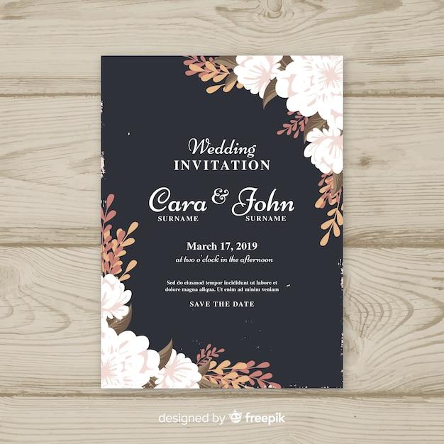 Modelo de convite de casamento vintage floral Vetor grátis