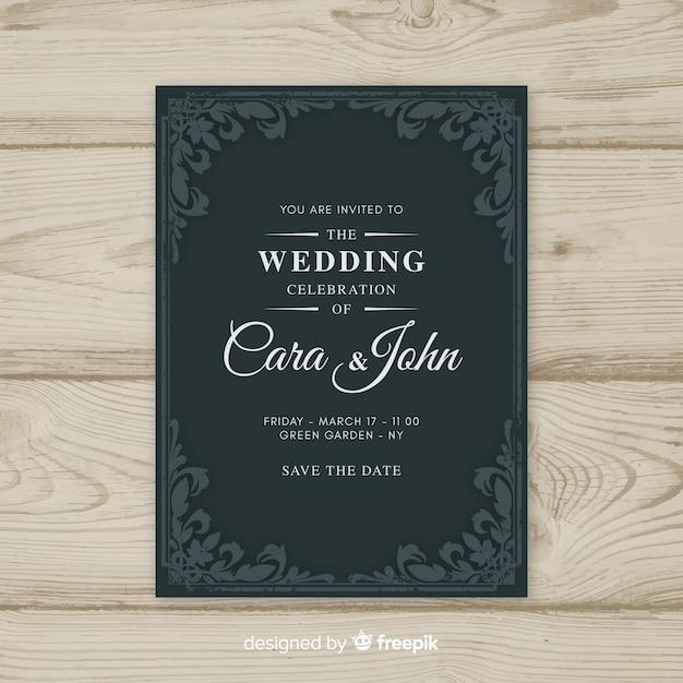 Modelo de convite de casamento vintage ornamentais Vetor grátis