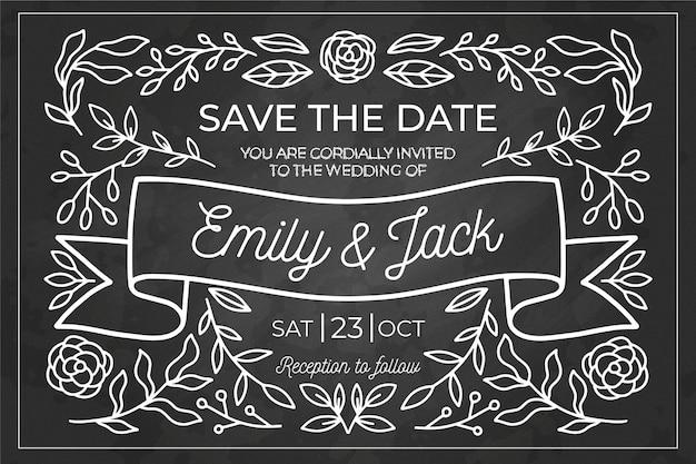 Modelo de convite de casamento vintage requintado no quadro-negro Vetor grátis