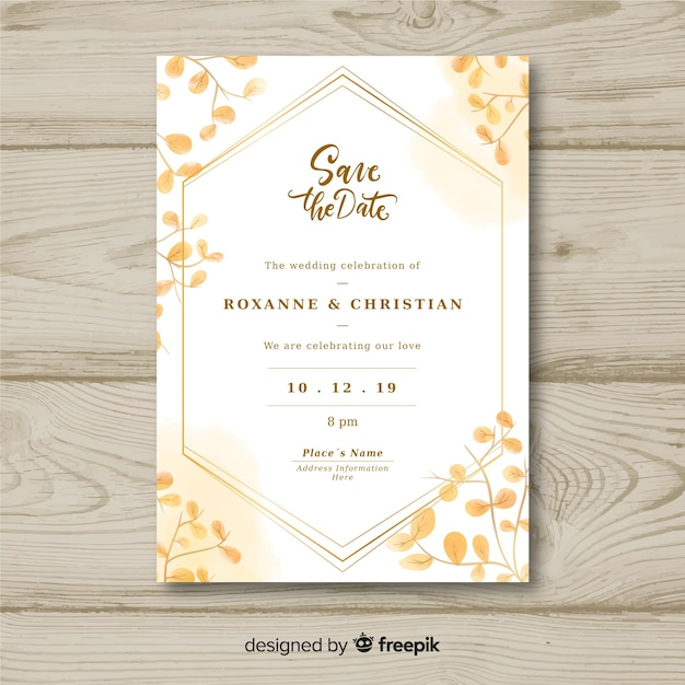Modelo de convite de casamento Vetor grátis