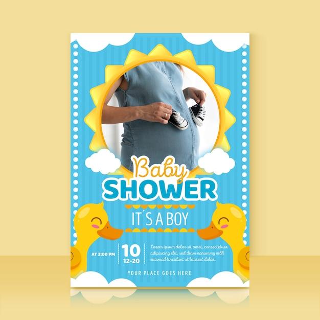 Modelo de convite de chuveiro de bebê com foto Vetor grátis
