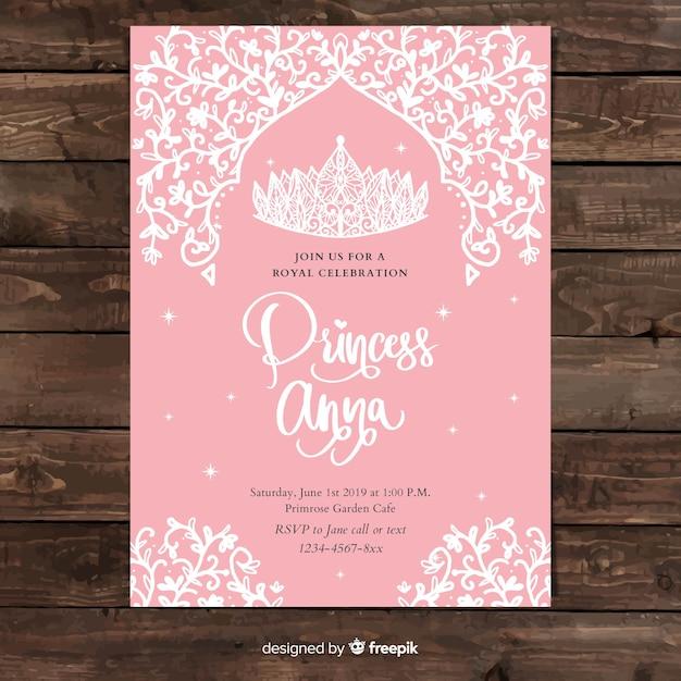 Modelo de convite de festa de princesa de videira mão desenhada Vetor grátis
