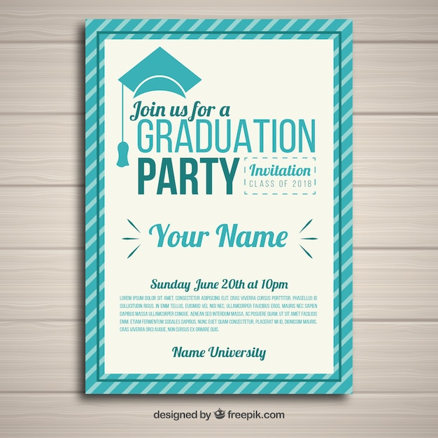 Modelo de convite de festa elegante graduação com design plano Vetor grátis