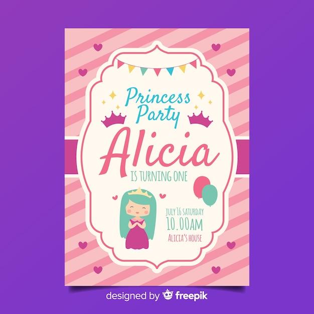 Modelo de convite de festa princesa plana Vetor grátis