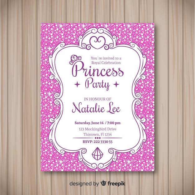 Modelo de convite de festa princesa pontilhada plana Vetor grátis