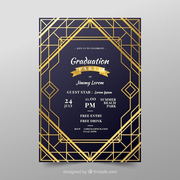 Modelo de convite de formatura com estilo dourado Vetor grátis