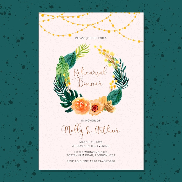 Modelo de convite de jantar de ensaio com aquarela tropical grinalda floral Vetor Premium