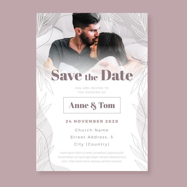 Modelo de convite de noivado com foto Vetor grátis