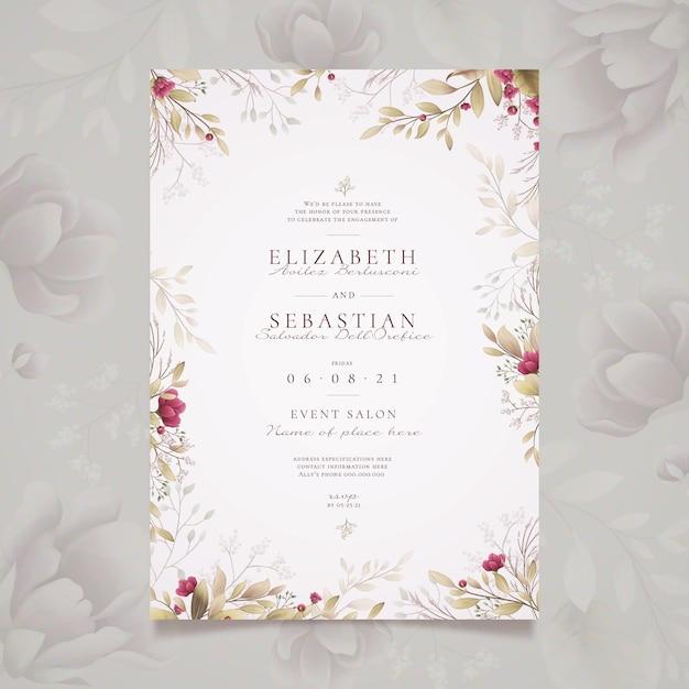 Modelo de convite de noivado floral Vetor grátis